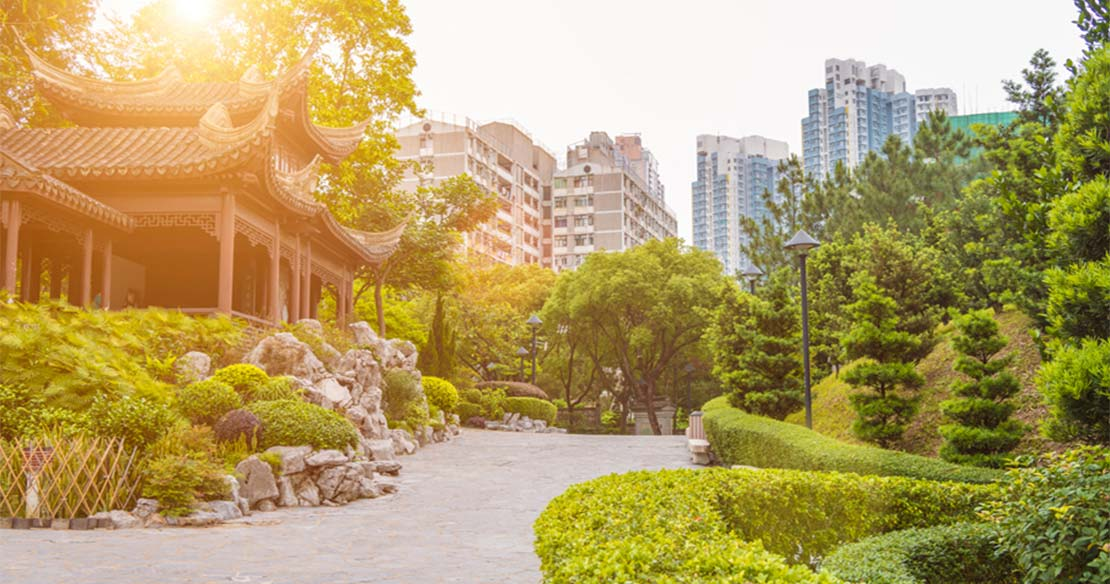 Dusk view of Kowloon Walled City Park in Hong Kong.