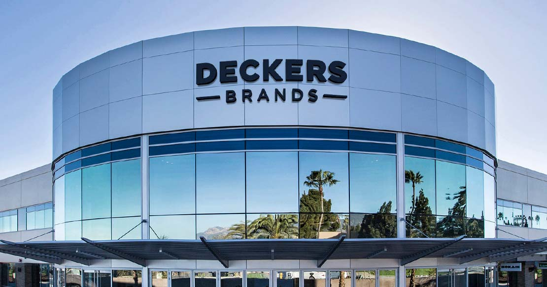 Front of Deckers Brands global headquarters in Goleta, California.